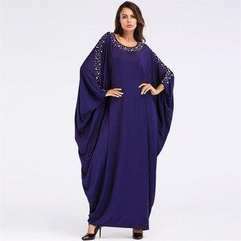 b49039c05 Hecho a mano perla abalorios musulmán vestido cuello redondo mangas de  murciélago árabe turco de moda vestido de largo azul marino noche musulmán  vestido ...