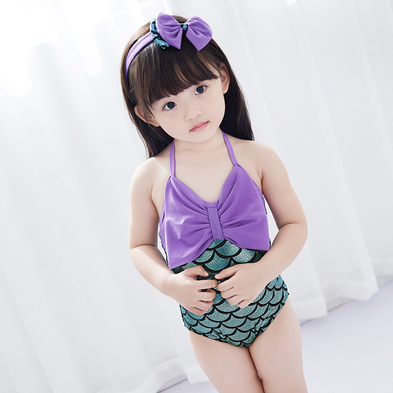 Mermaid Swimwear with Headwear for Girls Swimming Clothes 2017 New Summer Style One Piece Swimsuit Girls Bathing Suits Hot Sale 2017 kids swimwear one piece children swimsuit girls mermaid bathing suit cute bikinis headwear bow baby swimming clothing set