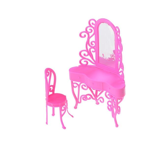 Sale 1Set Dresser Pink Kid Play Toys Dressing Table Bedroom Miniature Furniture Doll Accessory