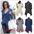 Women Irregular Long Sleeve Knitted Cardigan Sweater Poncho Outwear Jacket Coat Free Shipping