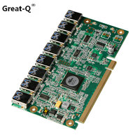 Promtion 1 to 8 PCIe Miner Machine Graphics Card Extension Cord PCI E 16X turn 8 Port USB3.0 PCIE Expansion Cards Riser Card
