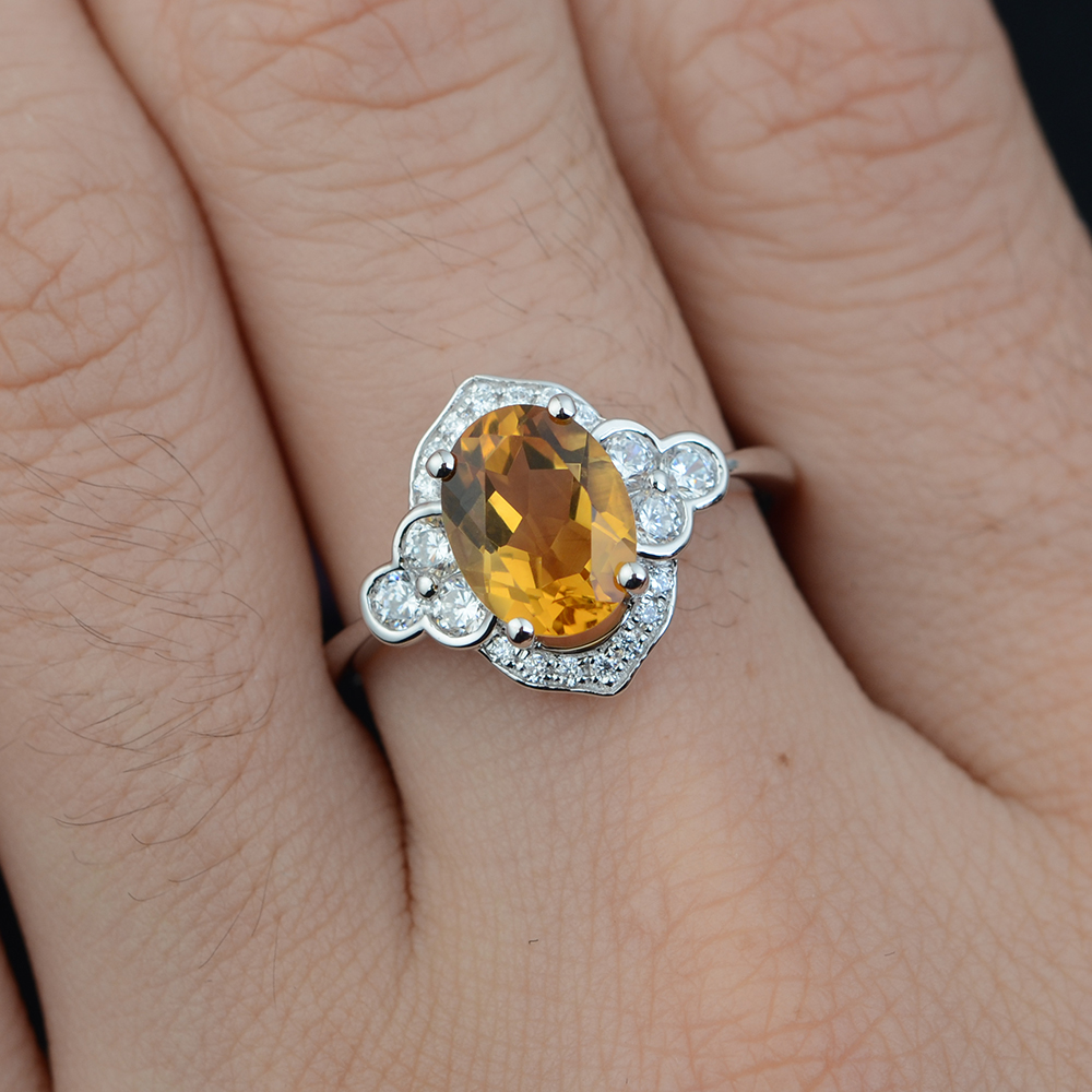 Leige Jewelry Natural Citrine Ring November Birthstone Yellow Quartz - Edlen Schmuck - Foto 2