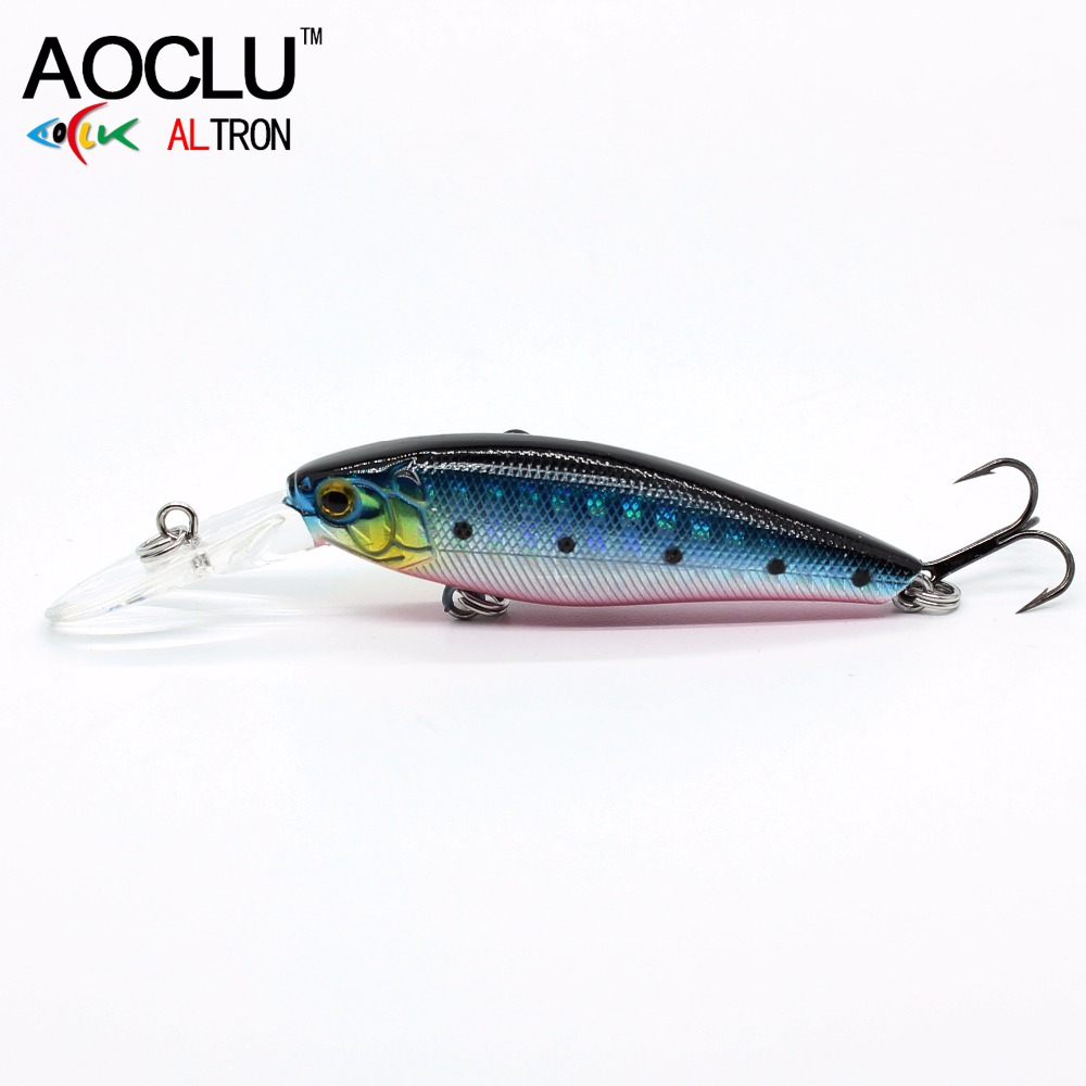 AOCLU NEW LURE Wobblers  58mm 5.6g Hard Bait Minnow Crank Fishing Lure Saltwater Bass Fresh VMC Hooks 6 Colors Tackle