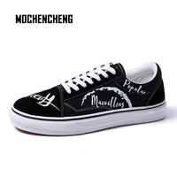 Men Sneaker Old School Canvas Casual Shoes Graffiti Print Lace up Round Toe Flat Low Top High Street Male Sneaker Rubber Shoes