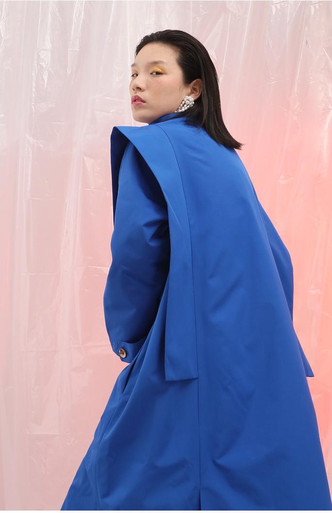 Lungo Cappotto Long blue Retrò Getsring Per Di 2018 Cappotti E Nuovo Grandi Spalle A Le Short Patchwork Blue Vento Delle Impermeabili Allentate Trench Giacca Donne Dimensioni dSwgwI