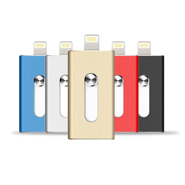 Unidad flash usb para iphone 6, 6 más 5 5S ipad metal pen drive hd otg memory stick doble propósito móvil micro 32 gb 64 gb pendrive