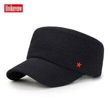 UNIKEVOW tampão Militar estrela Vermelha bordado Cap exército Lavado Flat  top cap cap Chapéu para os 5fff1911f8a