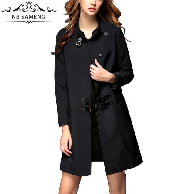 Nueva Moda europea Mujeres Delgadas Traje Sólido Trench Coat Chaqueta Larga Cazadora Femenina Ropa de Abrigo Más Tamaño