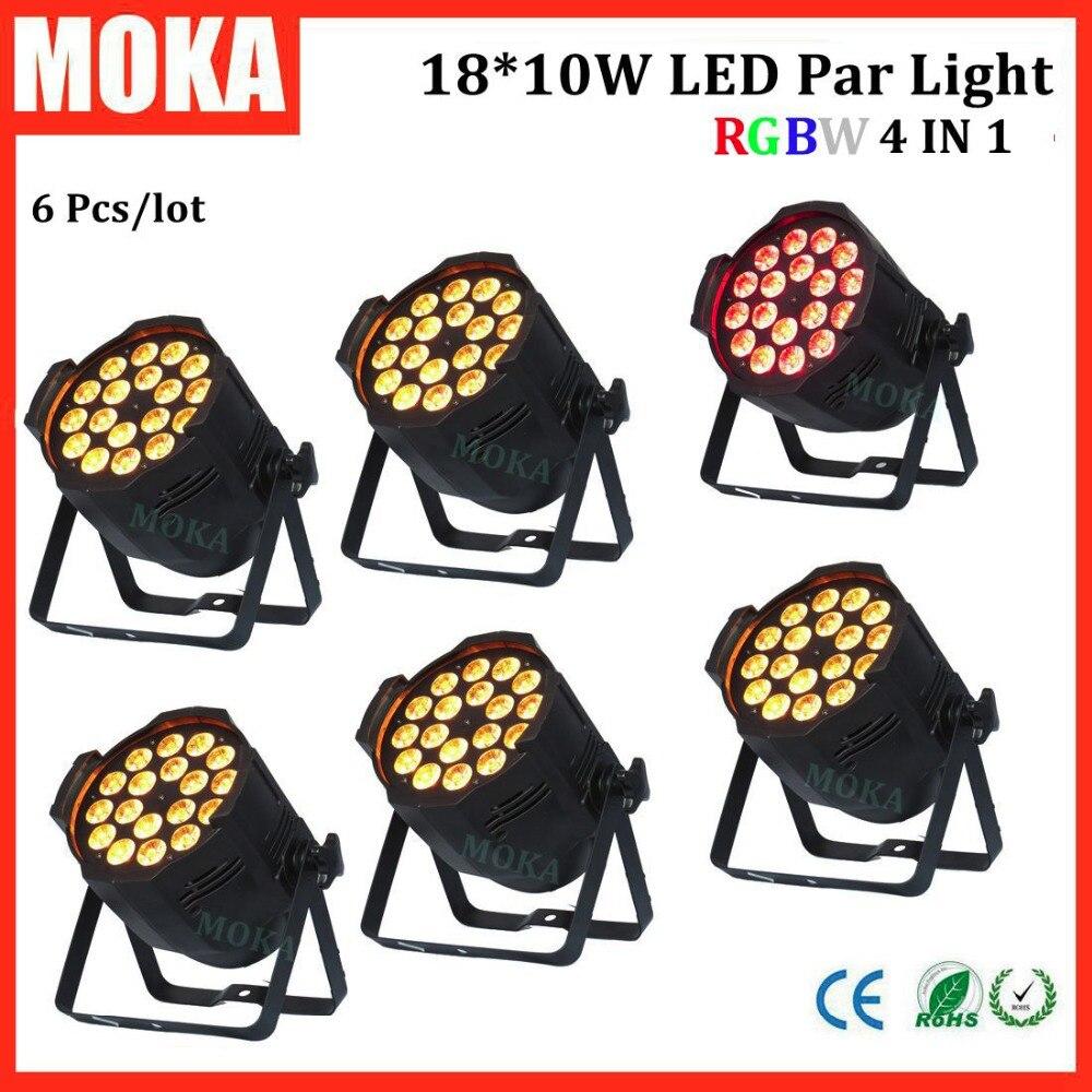 6 Pcs 18x10W led par 64 can par light RGBW 4in1 LED Flat Par Light DMX 8Chs LED disco lights for parties DJ Party Stage Lighting