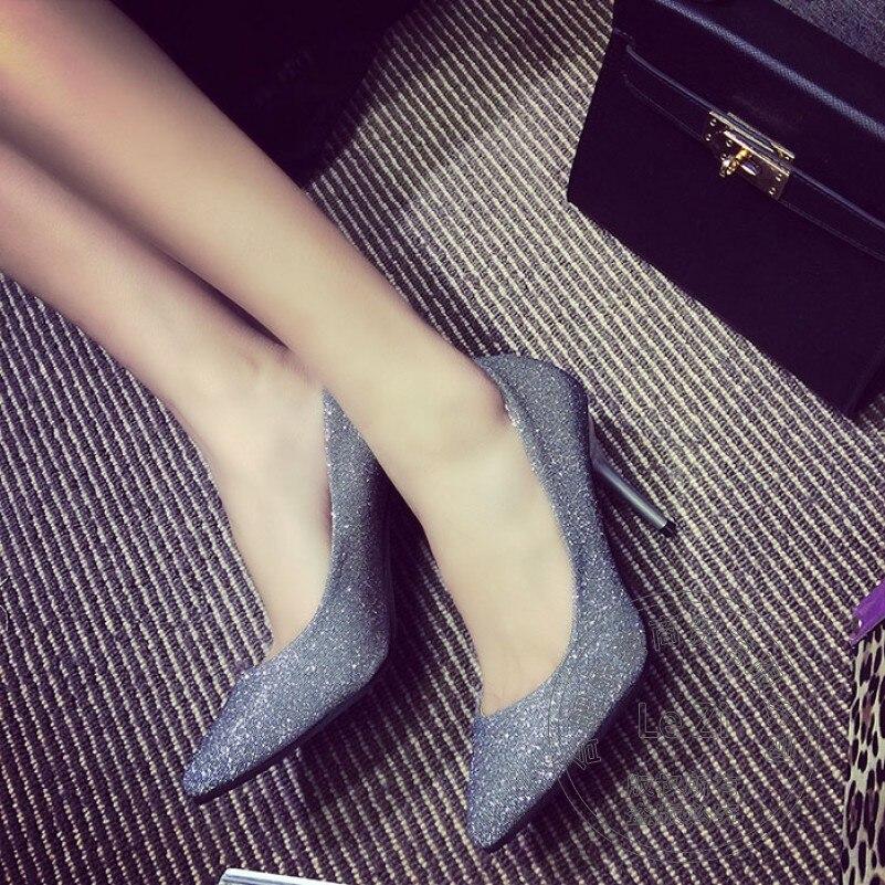 Thin Heel Footwear Silver Slim Stiletto Pointy Female Slip On Glitter Pointed Toe High Heels Dress