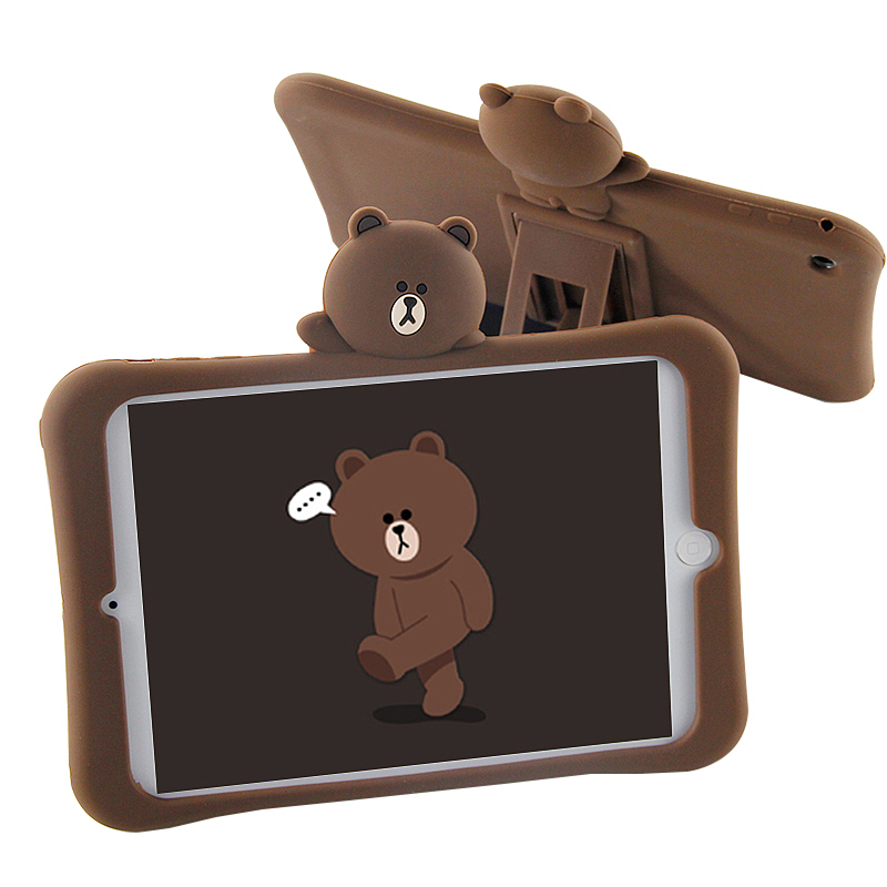 Bear Silicone Soft Case Stand Case For iPad Mini 4 3 2 1 Pro 9.7 10.5 Inch 2 3 4 For iPad Air 2 1 2017 2018 A1822 A1823 P15