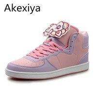 Akexiyaผู้หญิงf auxหนังฝึกอบรมเดินกีฬาสูงด้านบนรองเท้าการ์ตูนkawaiiโลลิต้ารอง