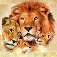Lion Family Diamond Painting Cross Stitch  Diamond Embroidery Europe Home Decoration Square Drill Animal Series