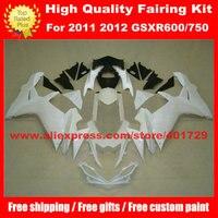 Racing motorcycle fairing for Suzuki GSXR 600 750 GSX R600 R750 2011 2012 white/black bodywork set with free heatshield