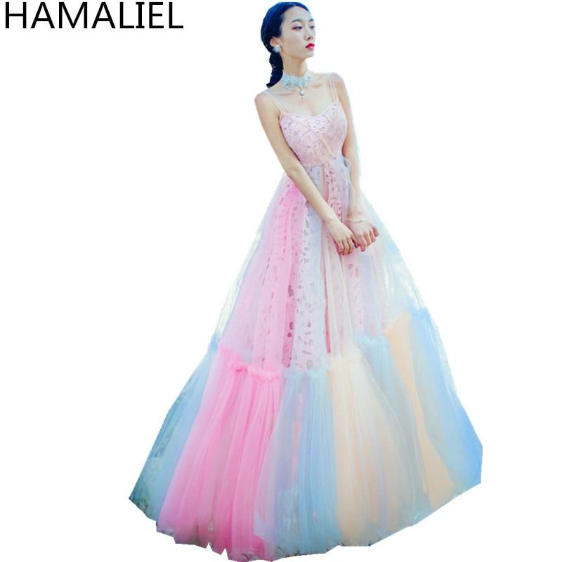 HAMALIEL Bohemian Holiday Beach Big Swing Maxi Colour Dress 2018 Summer Women Spaghetti Strap Lace Rainbow High Waist Long Dress