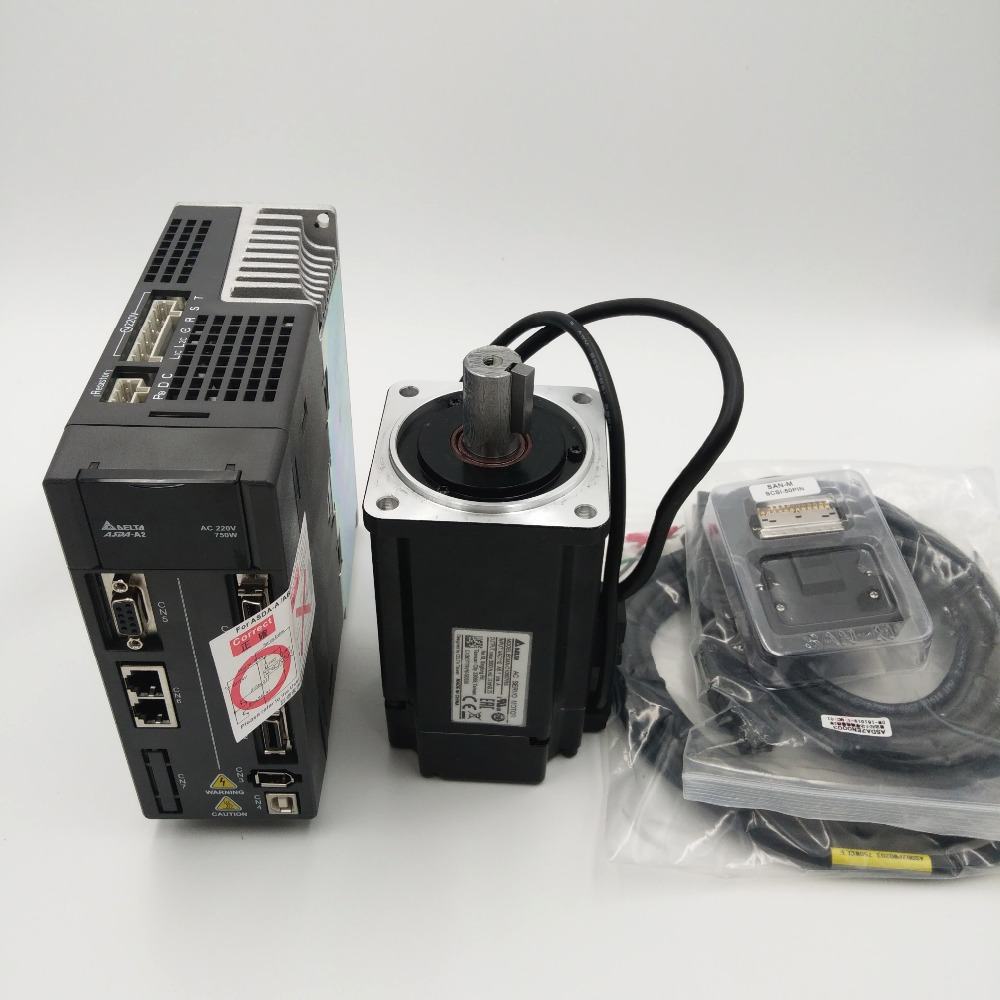 CNC 750W AC Servo Motor Drive kit Delta 220V Servo System 2.39NM 5.1A 80mm with 3M Cable ECMA-C10807RS+ASD-A2-0721-L