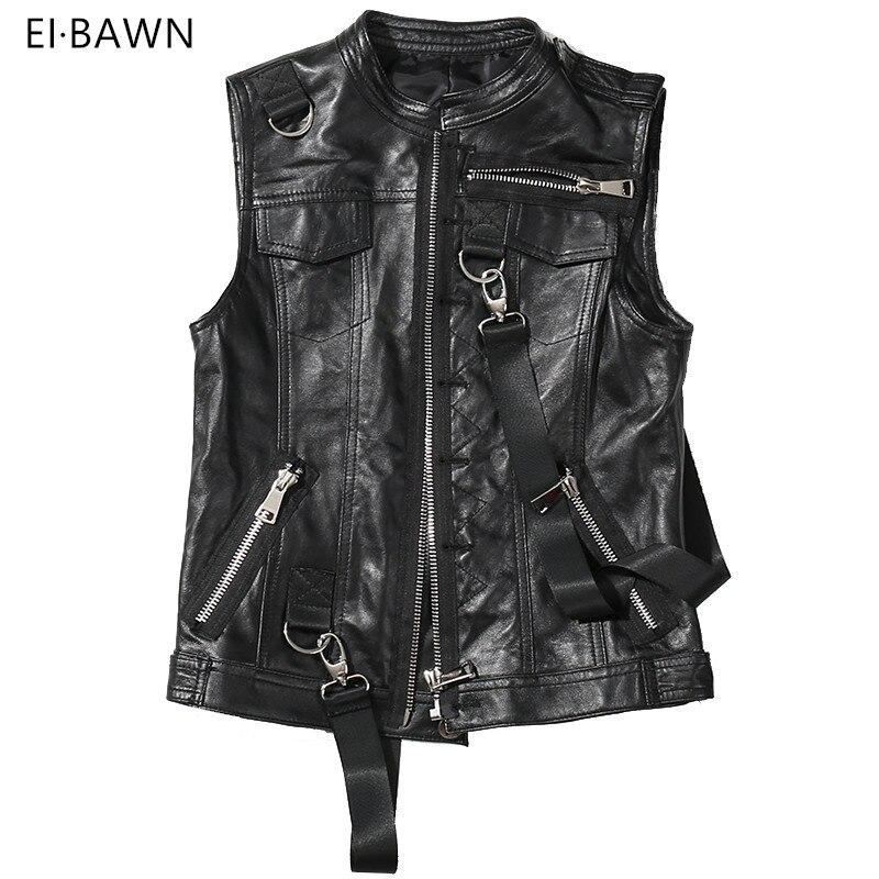 2018 New Arrival Vest Women Genuine Leather Black Lapel Sleeveless Ladies Jacket Moto&Biker Faux Zipper Fashion Design All Match