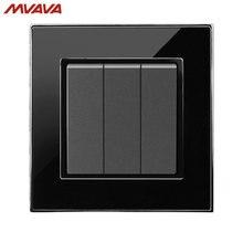 Free Shipping,MVAVA 3 Gang 1/2 Way Control Wall Decorative Light Switch EU/UK Standard Push Button Luxury Mirror Black Switch