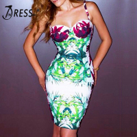 INDRESSME Sexy Spaghetti Strap Backless Mini Women Bandage Dress Fashion Print Strapless Bodycon Spring Dress Vestidos