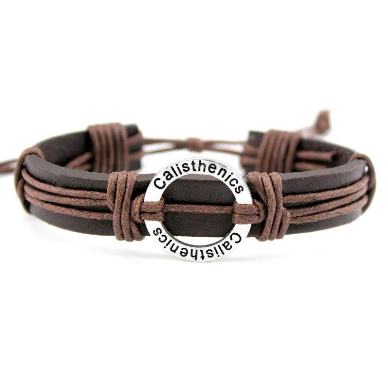 Calisthenics Gymnastics Football Volleyball Field Ice Hockey Golf Basketball Swim Charm Leather Bracelets Women Men Jewelry Gift