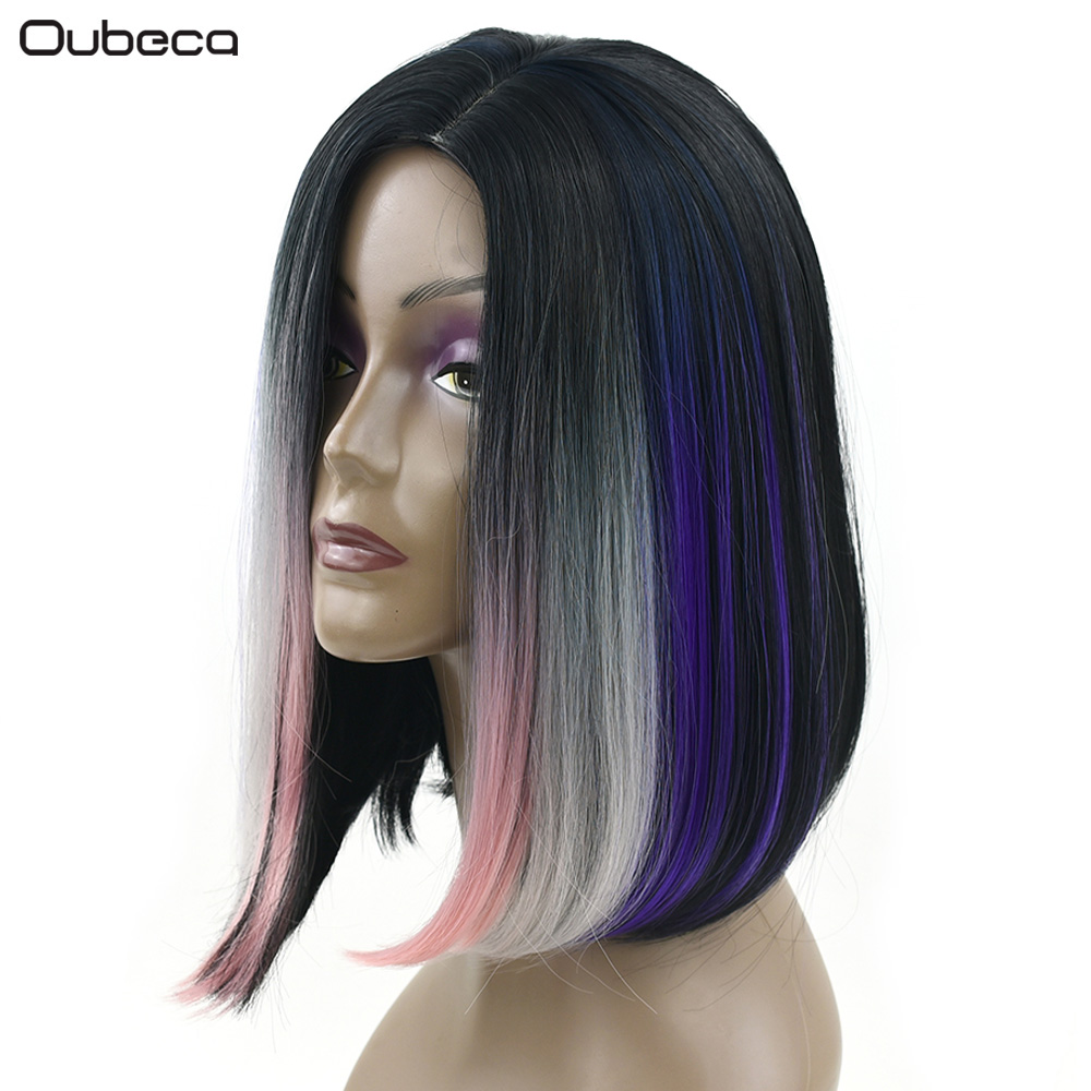 OUBECA Women Straight Short Bobo Cosplay Party Wigs Pink Gray Purple Mixed Wig High Temperature Fiber Synthetic Hairpiece