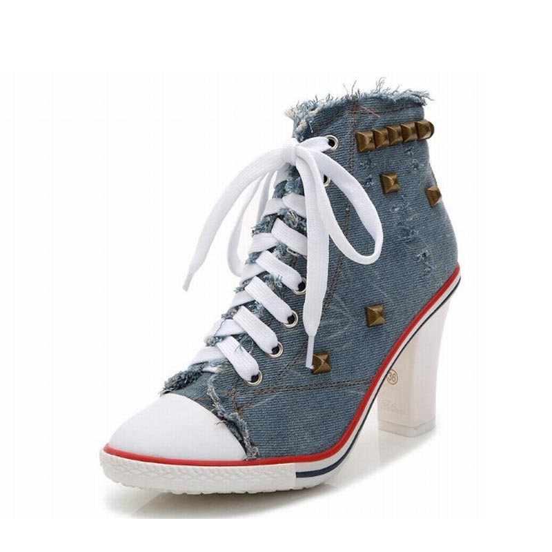 2017 sexy fashion women shoes woman high heels pumps zapatos mujer tacon sapatos de salto alto denim rivet ladies tenis feminino