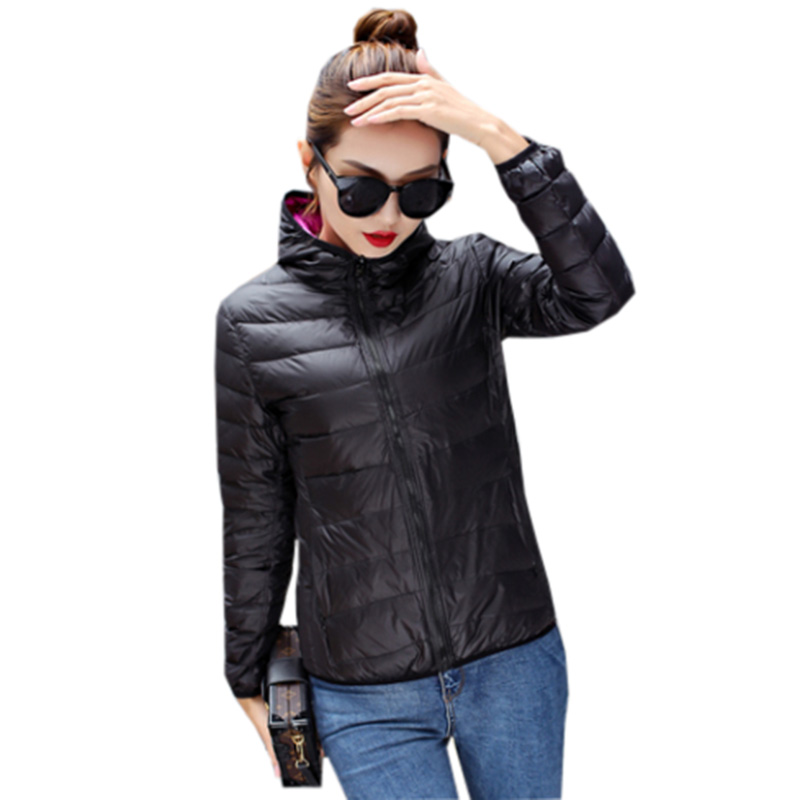 Fashion Double Side   Down   Jacket Women Short Hooded Slim Light Thin   Down     Coats   Spring Autumn Female Loose   Down     Coats   YP2055