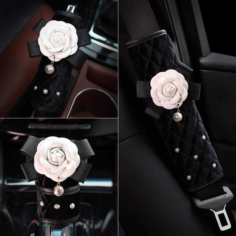 Cute Pearl Flower Plush Car Safety Seat Belt Cover Shoulder Pad Shifter Gear Cover HandBrake Styling Interior Accessories