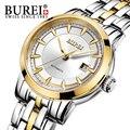 Aço inoxidável burei 2016 mulheres relógio automático analógico relógio de pulso à prova d' água 5atm negócio senhora vestido elegante relógio reloj mujer