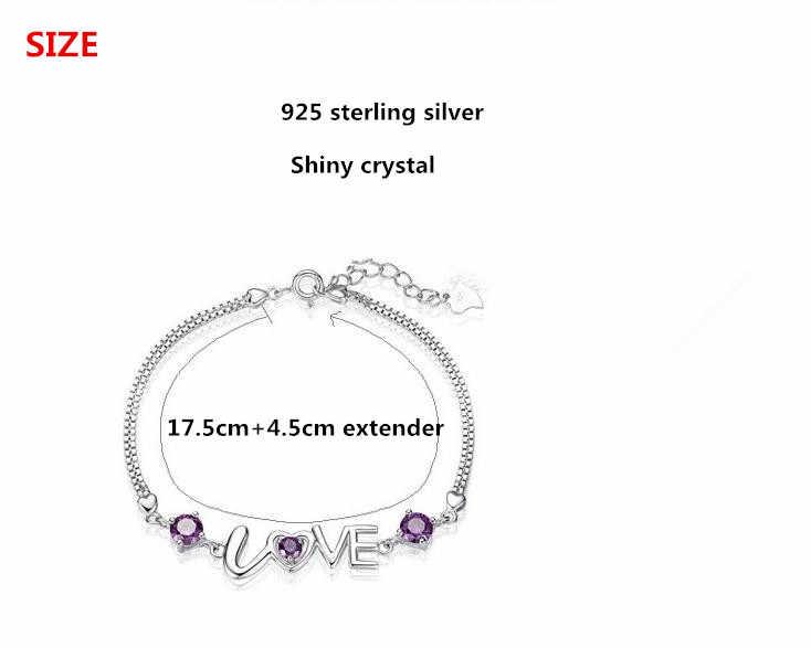 100% 925スターリングシルバーロマンチックな愛のハートシャイニークリスタルladies'braceletジュエリーいいえフェード女性ブレスレットバレンタインギフト