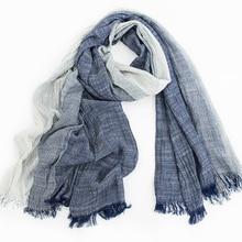 2019 Wholesale Brand Winter Scarf Men Warm Soft Tassel Bufandas Cachecol Gray Plaid Woven Wrinkled Cotton Men Scarves
