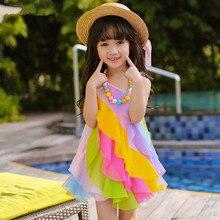 Girls 2017 New Summer Rainbow stripe children dress formal princess vest dress 3-11 years elegance Chiffon prom dresses kids