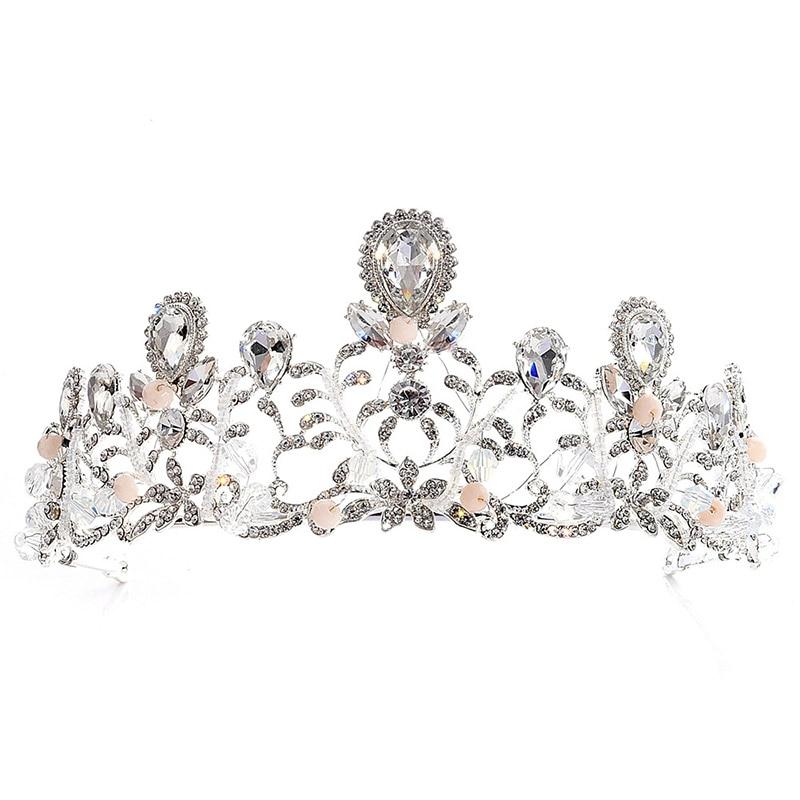 Handmade Water Drop Crystal Rhinesotne Beads Large Bridal Tiaras Crown Headpiece Bride Women Wedding Hair Jewelry Accessories LB
