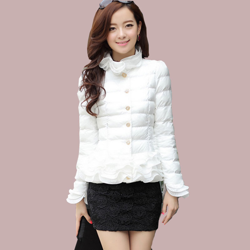 2017 winter jacket women coat jacket short Ruffles spring girl sweet white down parka women jackets Autumn Women's clothing