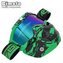 Bjmoto Cool Detachable Motorcycle Full Face Helmet Motorbike Pilot Goggles helmet goggles dust mask modular face glasses