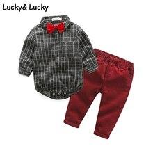 Gentleman bébé garçon vêtements nouveau-né à manches longues plaid combinaisons + pantalon décontracté nouveau style bébé vêtements