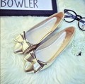 women shoes 2017 fashion bowtie pointed toe women flats slip on casual flat heel shoes gold silver valentine shoes zapatos mujer
