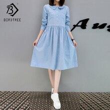 d6e320dd724 BIRDTREE TB Sweet Print Striped Women s Dress Midium Long A-Line Cotton  Linen