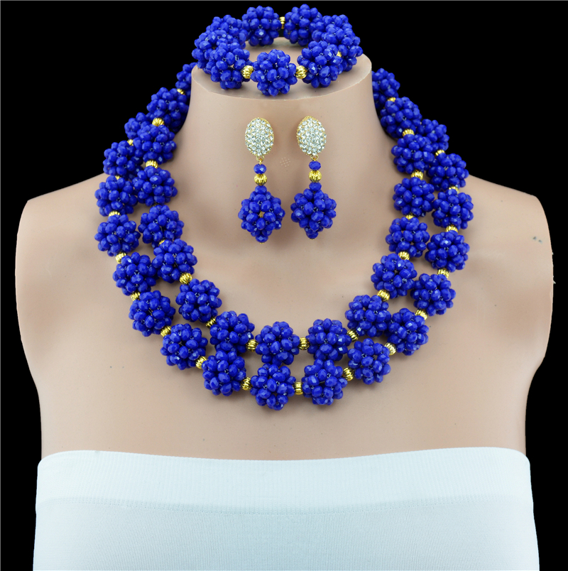 Blue African Brides Beads Jewelry Set Fashion Jewelry Sets Nigerian Wedding African Beads Necklace Set African Jewelry SetBlue African Brides Beads Jewelry Set Fashion Jewelry Sets Nigerian Wedding African Beads Necklace Set African Jewelry Set