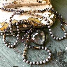 Романтическое ожерелье с подвеской в виде сердца в стиле «потертый Бохо» с паяльным кристаллом, аксессуар, ожерелье NM11324