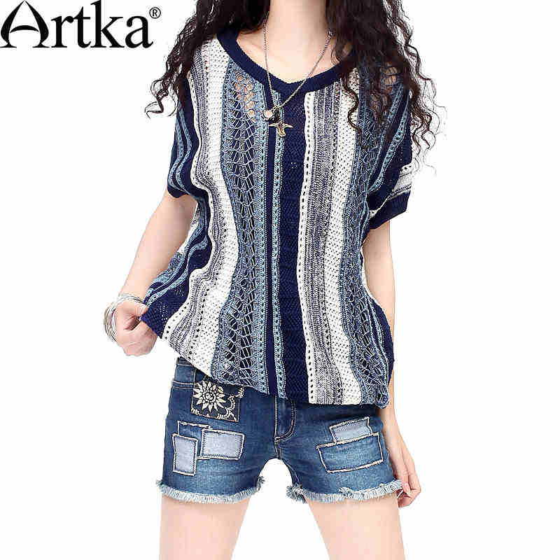 Artka-Women-s-Summer-All-match-Batwing-Sleeve-Silm-Cutting-Pullover-Perforated-Blue-Stripes-Two-sides