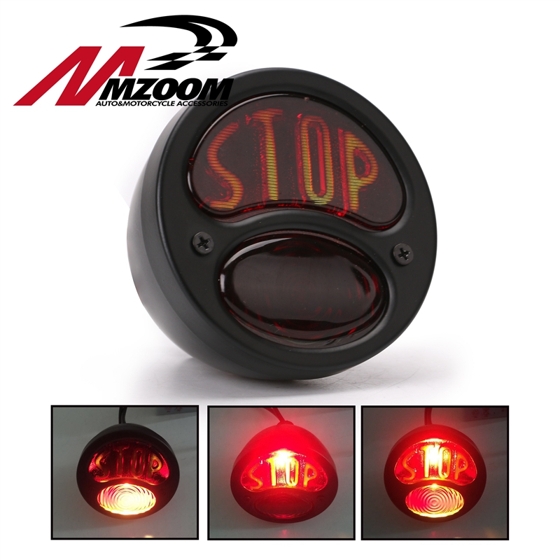 Motorcycle Taillight High Power Black Iron Metal Retro Rear Brake Tail Stop Light Tail Light Fit For Bobber Chopper Shadow