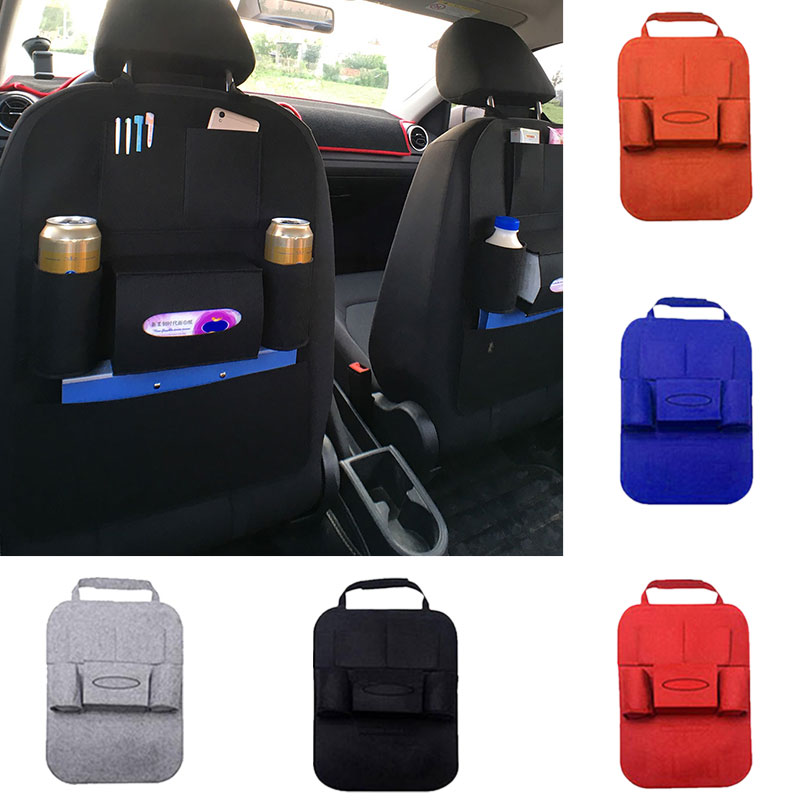 1Pc Car Storage Bag Auto Seat Back Bag Anti Kick Pad Protector Cover Tissue Phone Drink Bottle Holder Organizer Stowing Tidying