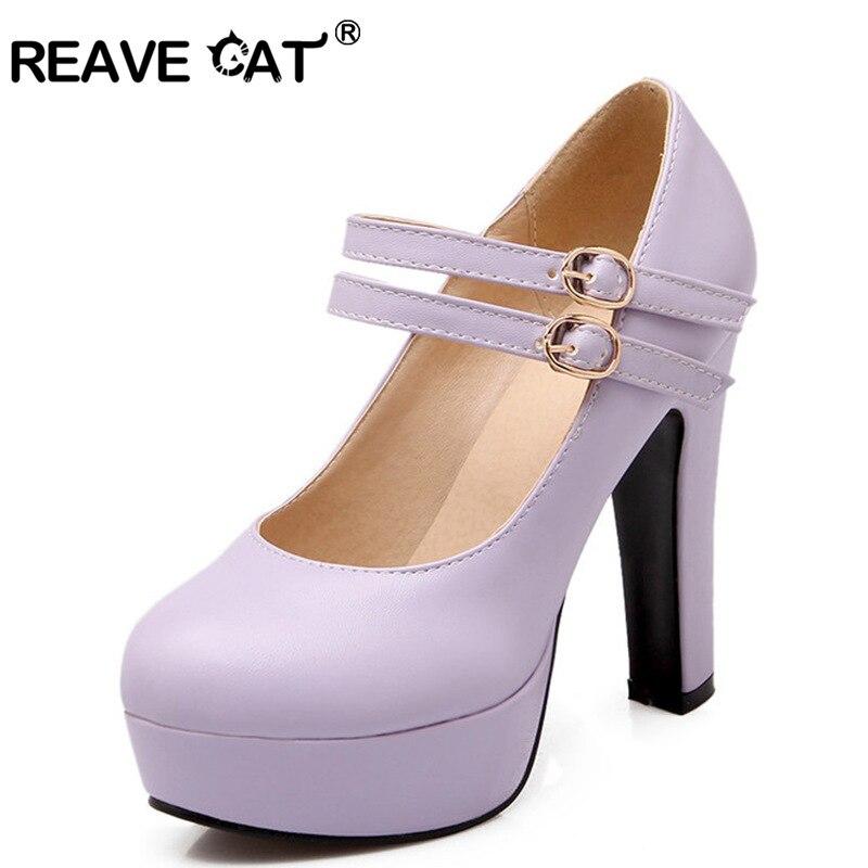 REAVE CAT Spring summer Autumn Ladies shoes high heels Women pumps Buckle Platforms PU Solid Purple