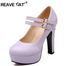 REAVE CAT/сезон весна-лето-осень; женская обувь; женские туфли-лодочки на высоком каблуке; однотонная фиолетовая обувь из искусственной кожи на платформе и толстом каблуке с пряжкой; QL5232
