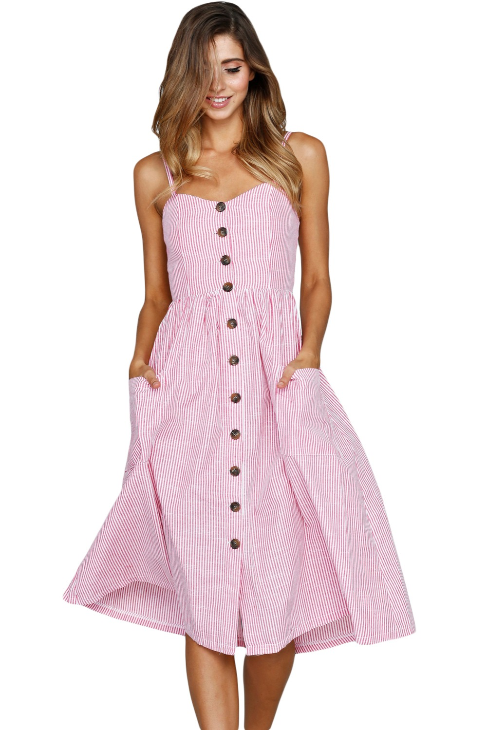 5ac87f5e6d1 Zmvkgsoa Long Sundress Sexxy Casual Spaghetti Strap Blue White Striped  Button Down Mid Calf Dress Boho Vestido Female VV610030-in Dresses from  Women s ...