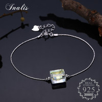 INALIS 925 Sterling Silver Square Crystal Bracelets Romantic Fine Jewelry For Women Bangles With Link Chain