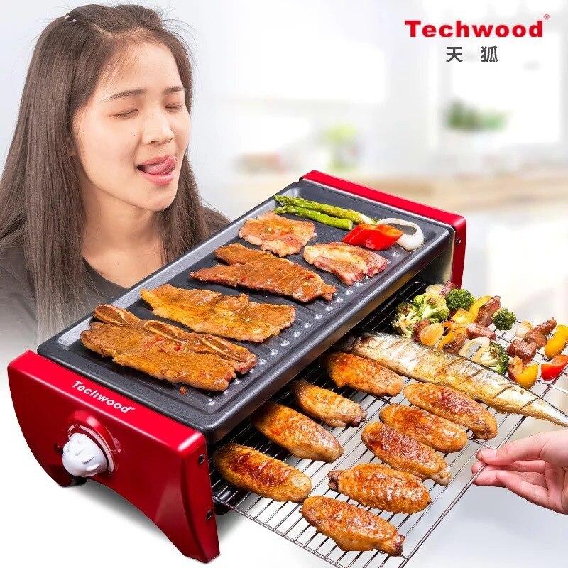 Gril électrique coréen Bbq 2 couches maison antiadhésive électrique plaque de cuisson sans fumée Barbecue Machine plaque de cuisson Panini Grill intérieur