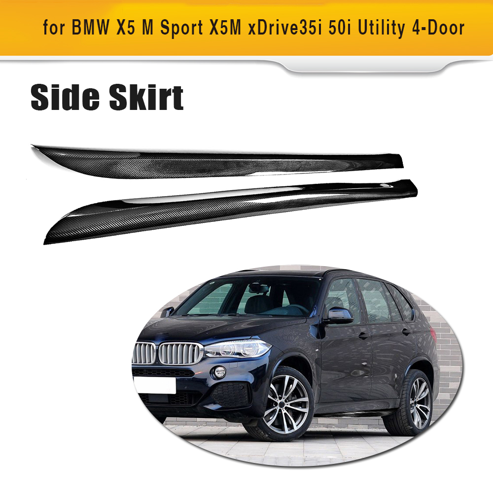 P style Carbon Fiber Auto Rcing Side Skirts Bumper Aprons for BMW X5 M Sport X5M xDrive35i 50i Utility 4 Door 2014-2018