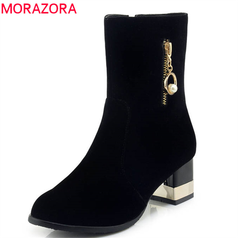 MORAZORA 2018 large size 33-43 flock boots women round toe short plush autumn winter ankle boots square high heels shoes woman sarairis 2018 spring autumn punk mixed color ankle boots lace up rivet colorful shoes woman short plush large size 33 43 lady